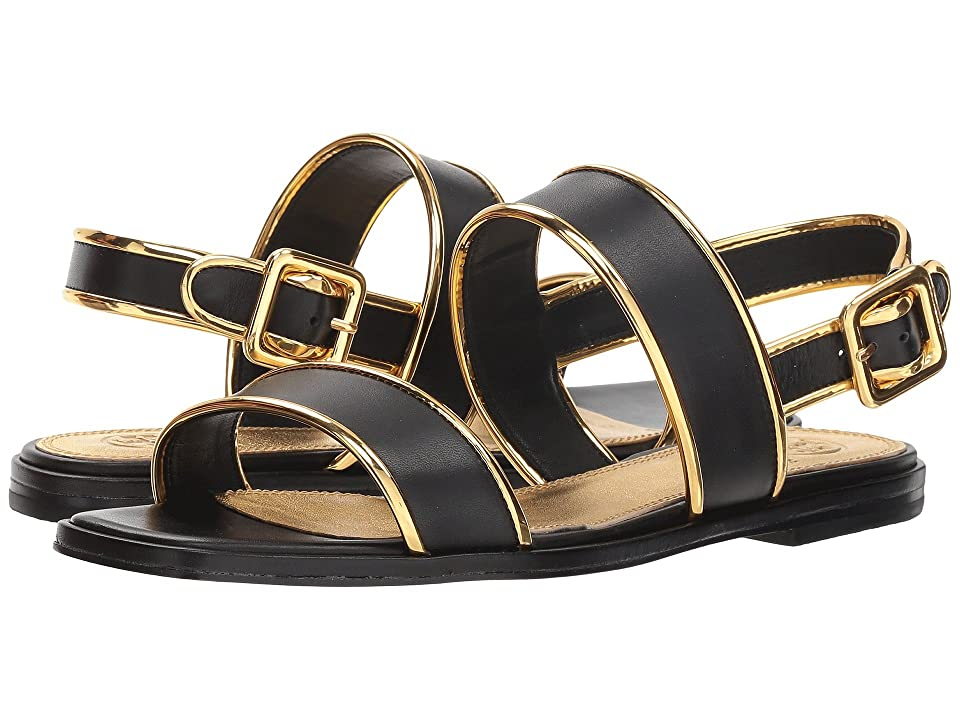 Tory Burch Delaney Flat Sandal (Perfect Black/Gold) Women
