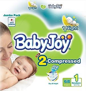 BabyJoy Compressed Diamond Pad, Size 1, Newborn, 0-4 kg, Jumbo Pack, 68 Diapers