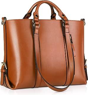 Kattee Genuine Leather Tote Handbag for Women, Laptop Briefcase Work Shoulder Bag Designer Purses