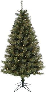 Christmas Time Green 7.5-Ft Pre Lit Vermont Pine Christmas Tree with EZ Connect Clear Smart Lights and Metal Stand