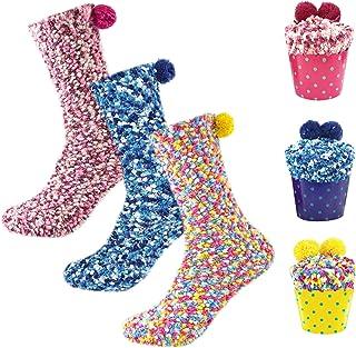 Osugin, Kuschelsocken suaves con forma de cupcake, para mujer o niña, calcetines mullidos, para Navidad, San Valentín, nacimiento, con caja de regalo (3 pares), Amarillo+rosa+azul oscuro, 5X-Large
