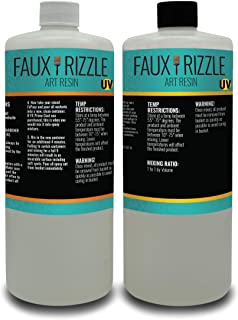 Faux Rizzle Art Resin UV - 2 Quarts Total - UV Resistant, Clear Resin to be Poured Over Art, Tumblers, etc. - Non-Toxic and Easy Application Copy