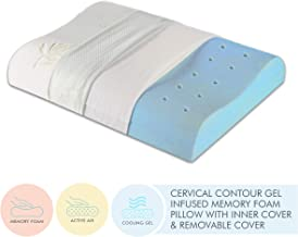 """The White Willow Cervical Orthopedic Memory Foam Cooling Gel Queen Size Contour Neck Support Sleeping Bed Pillow Organic Bamboo Removable Zip Cover (23"""" L x 14"""" W x 4"""" H) -Green"""