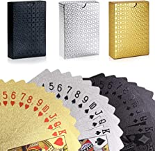 GORCHEN Playing Cards Waterproof Waterproof Plastic Foil Poker Cards Set Gold Silver Black, Magic Tricks Tool for for Men Women Party Game Show, Pack of 3 Decks