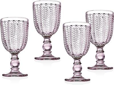 Twill Red Wine Goblet Beverage Glass Cup by Godinger - Rose Pink - 10oz, Set of 4