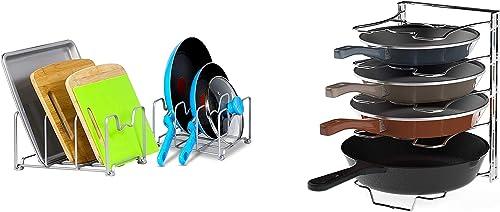 popular SimpleHouseware Kitchen Cabinet Organizer Rack new arrival + 5 Adjustable Compartments outlet online sale Pan Rack online sale