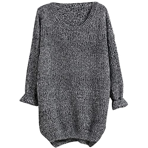 53b00d836 Verdusa Women s Long Sleeve Knitted Casual Pullovers Sweater Grey Free Size