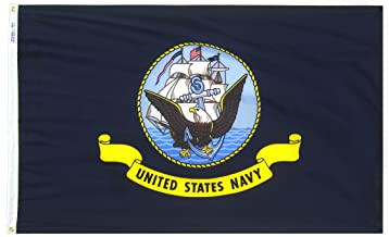 Annin Flagmakers Model 439030 U.S. Navy Military Flag 3x5 ft. Nylon SolarGuard Nyl-Glo 100% Made in USA to Official Specifications. Officially Licensed Manufacturer.