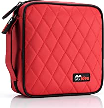 CCidea 40 Capacity CD/DVD Case Holder Portable Disc Wallet Storage Binder Nylon Cd Bag(Red)