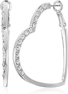Womens Heart Shaped Clutchless Hoop Earrings