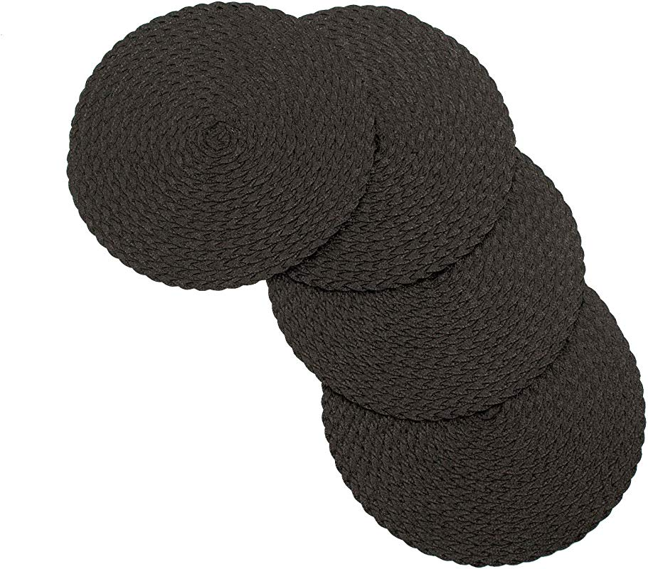 V Daisy Woven Braided Table Placemats 15 Inches Round Set Of 4 Non Slip Dining Kitchen Table Mats Black
