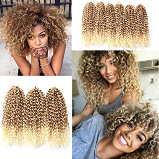 12 Inch Marlybob Crochet Hair 6 Small Packs/lot Crochet Braids Jerry Curly Hair Extensions Ombre Synthetic Braiding Hair (27/613#)