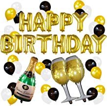 Sterling James Co. Gold Birthday and Champagne Balloon Set - Birthday Party Decorations - 21st - 30th - 40th - 50th - Funny Birthday Party Supplies