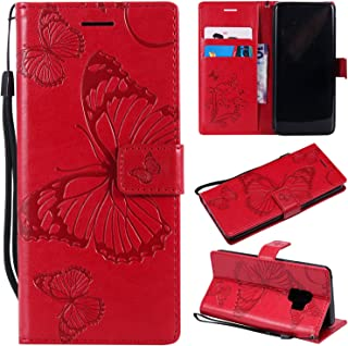 SMYTU Galalxy S9 Wallet Case, Premium Emboss Butterfly Flip Wallet Shell PU Leather Magnetic Cover Skin with Wrist Strap Case for Samsung Galaxy S9 5.8
