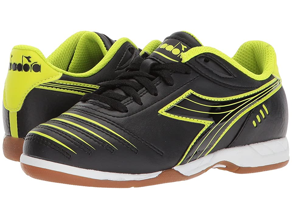 Diadora Kids Cattura ID JR Soccer (Little Kid/Big Kid) (Black/Yellow Flou) Kids Shoes
