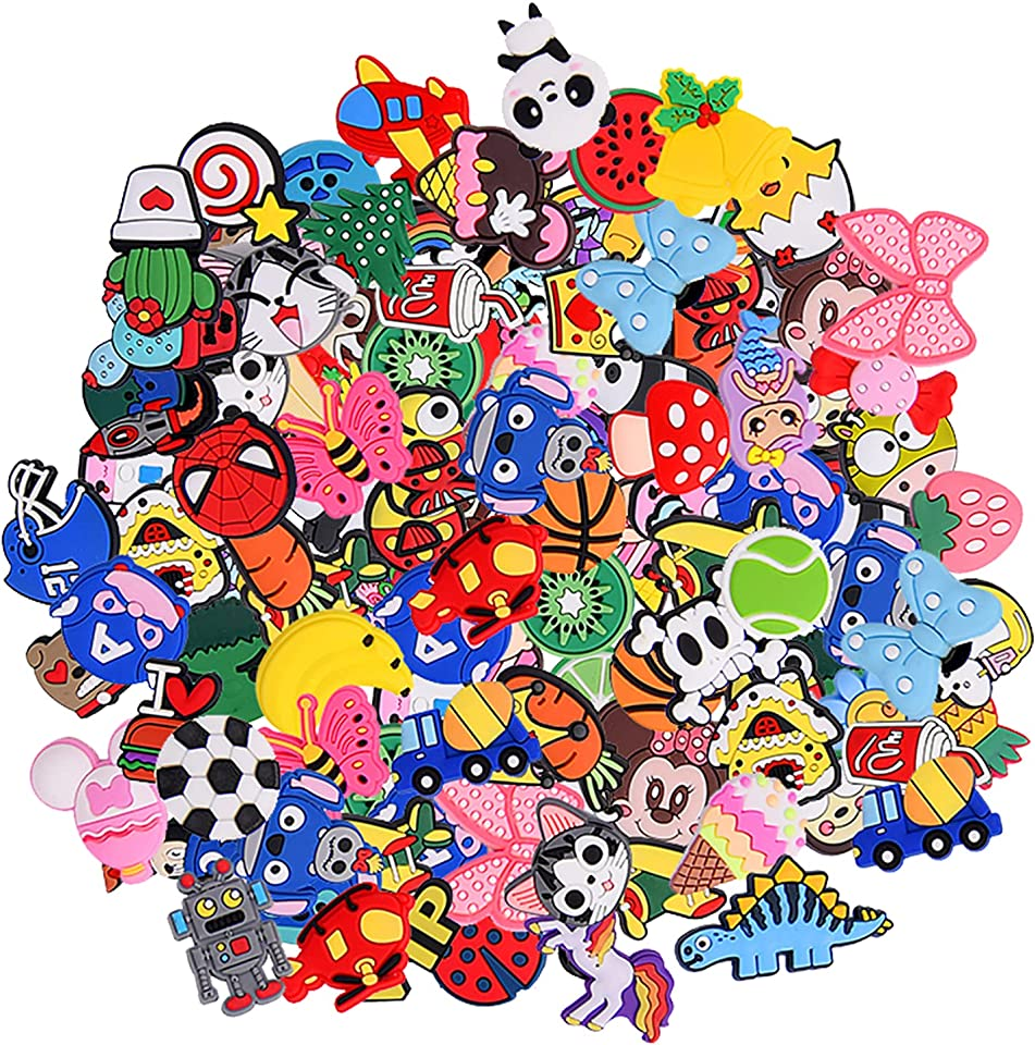 30,50,100pcs Random Different Cute Cartoon Shoe Charms for Shoe Decoration & Wristband Bracelet, Sport Party Gifts for Kid Boy Girl Teens Men Women and Adults