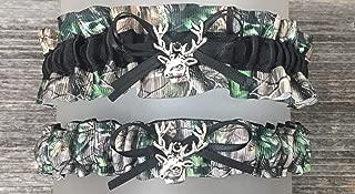 Sexy Camouflage Black Satin Camo Wedding Bridal Garter SET - Deer Head Charm