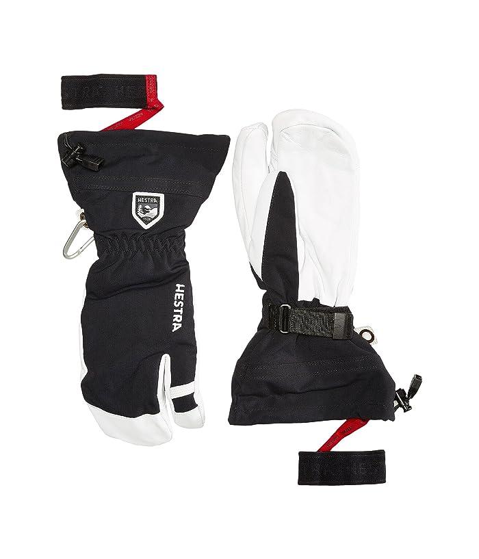 Hestra Army Leather Heli Ski 3-Finger (Black) Ski Gloves