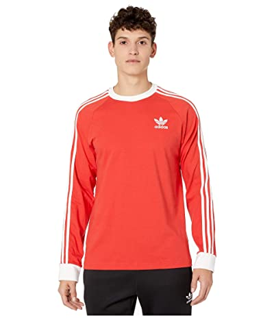 adidas Originals 3-Stripes Long Sleeve Tee (Lush Red) Men