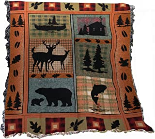 Manual The Lodge Collection 50 x 60-Inch Tapestry Throw with Fringe, Bear Lodge