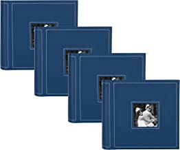 DesignOvation Debossed Faux Leather Photo Album, 200, Blue