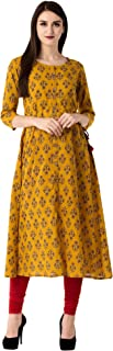 GLAM ROOTS Women's A-Line Cotton Kurta (MUSTARD)