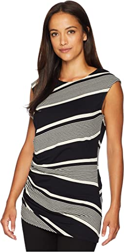 Cap Sleeve Side Ruched Venue Stripe Top