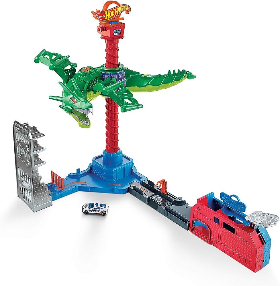 Hot wheels - attacco aereo del dragone, playset motorizzato con suoni e 1 macchinina giocattolo per bambini GJL13