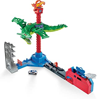 Hot Wheels City Air Attack Robo Dragon Play Set Motorized with Different Sounds and 1 Hot Wheels Car GJL13