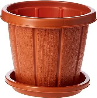 "Cosmoplast Plastic Cedargrain Round Flowerpot 6"" with Tray, Terracotta"