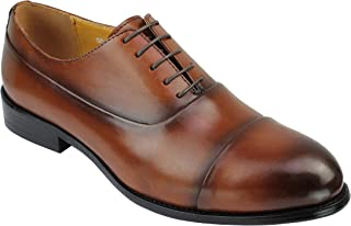 Xposed Mens Retro Genuine Leather Oxford Shoes in Brown Black Smart Formal Dress Cap Toe Lace ups