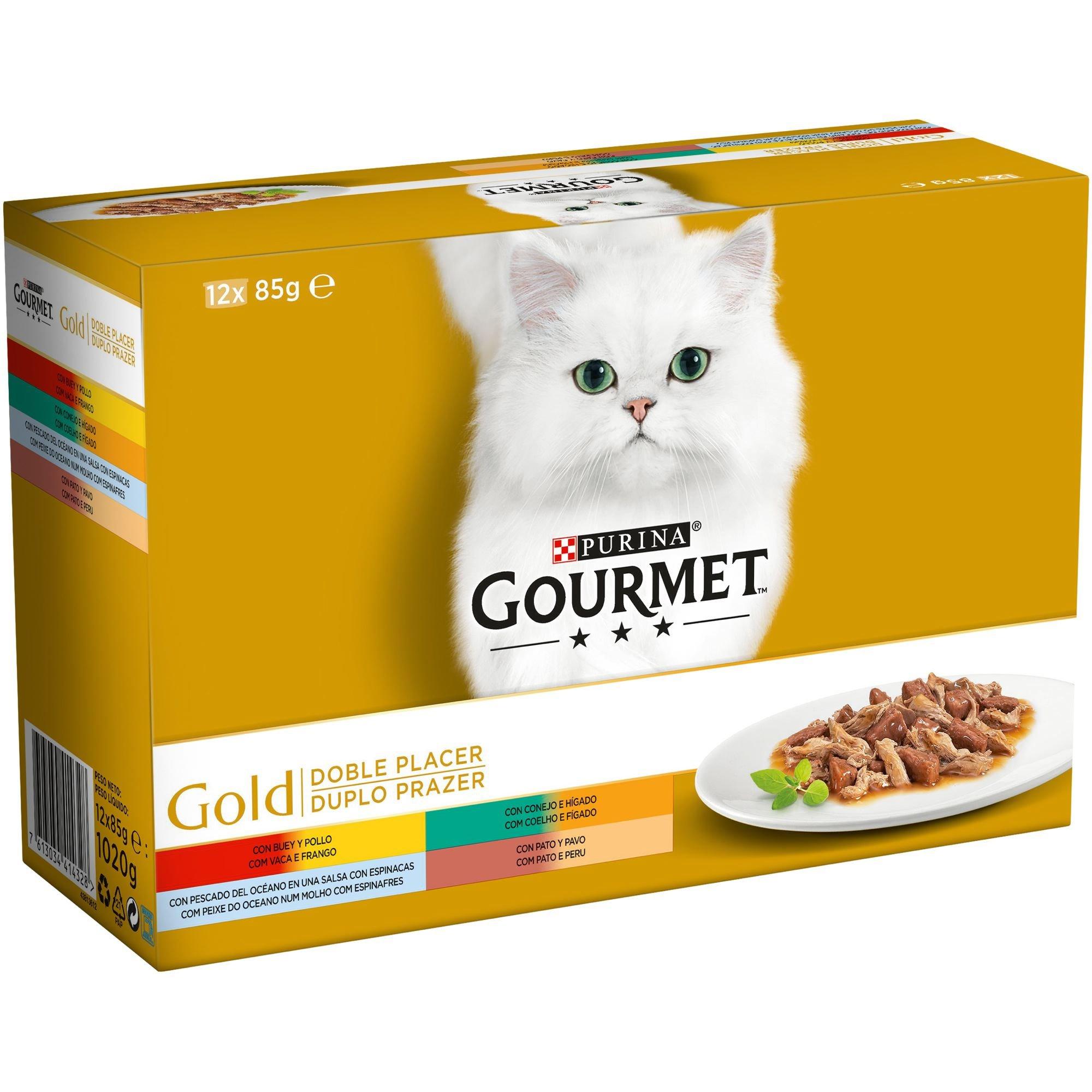 Purina Gourmet Gold Doble Placer comida para gatos Surtido sabores 8 x [12 x 85 g]: Amazon.es: Productos para mascotas
