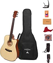 """Black Wolf Beginners Acoustic Guitar 41"""" Natural Color Cutaway Bundle with Gig Bag, Tuner, Capo,Strings, Strap, Picks and Polishing Cloth S1"""