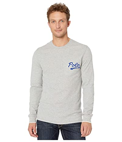 Polo Ralph Lauren Midweight Waffle Long Sleeve Crew Polo (Andover Heather/Heritage Royal) Men
