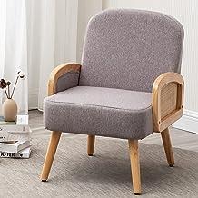 كرسي بذراع قماشي عصري من AcozyHom بإطار خشبي، 69 سم (طول) × 21.9 سم (عرض) × 29.9 سم (ارتفاع)، كرسي أريكة أحادي اللون، مقعد...