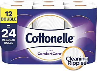 Cottonelle Ultra ComfortCare Soft Toilet Paper, 12 Double Rolls, Bath Tissue