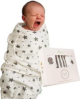 DaisyGro Baby Swaddle Wraps, 3 Unisex Designs, Soft Breathable Cotton, 0-3 Months