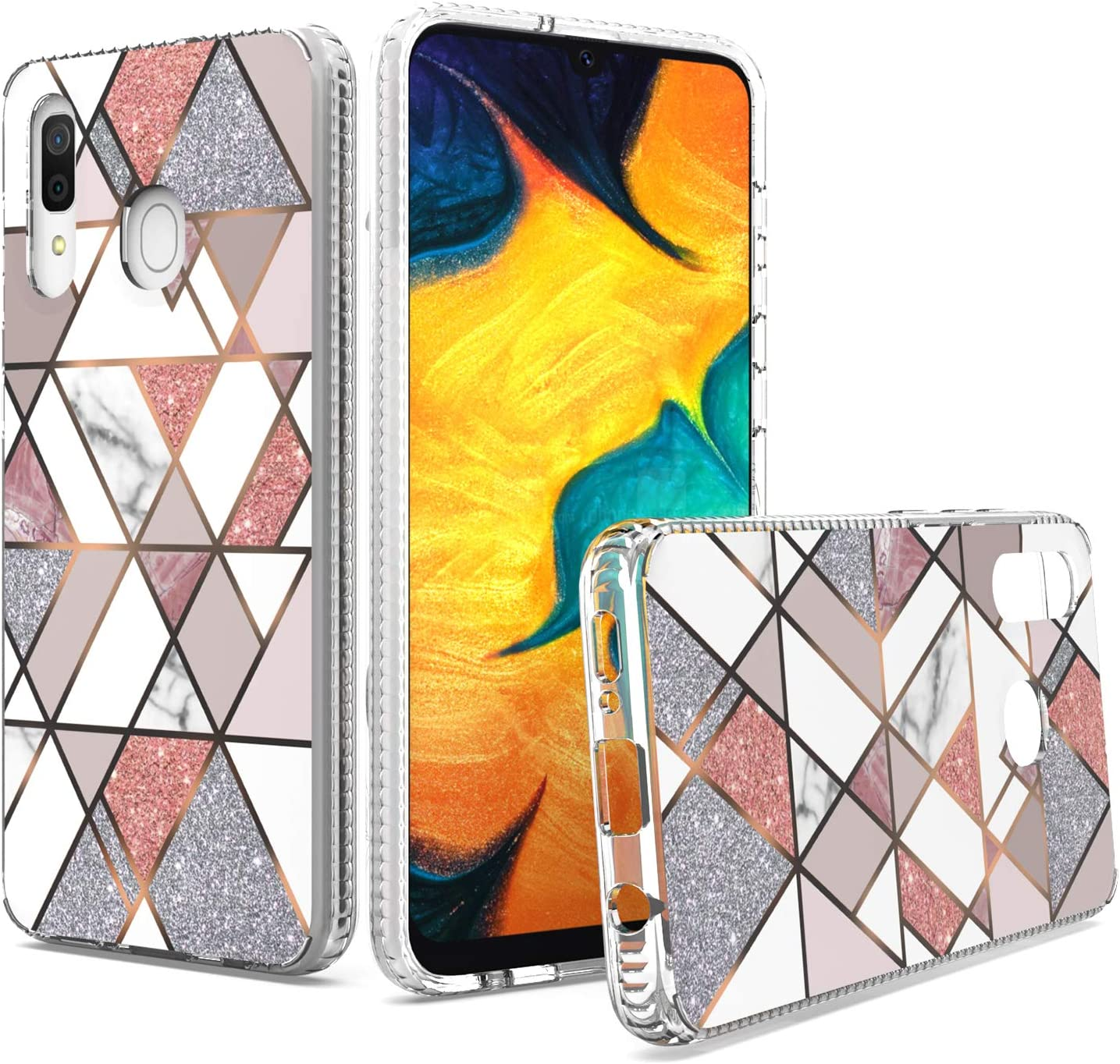 UNC Pro Cell Phone Case for Samsung Galaxy A20 / A30 / A50, Geometry Marble Military Grade Glitter Sparkle Hybrid Case, Shockproof Bumper Protective Case Cover