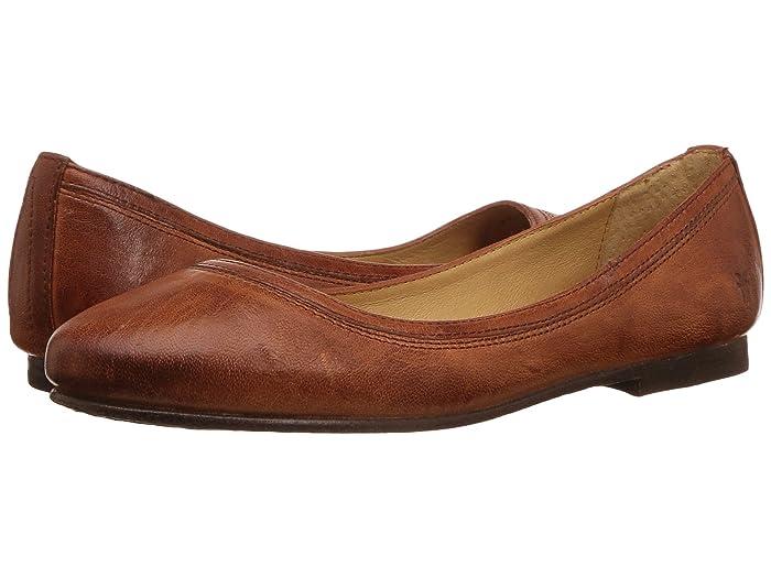 Frye  Carson Ballet (Cognac Antique Soft Full Grain) Womens Flat Shoes