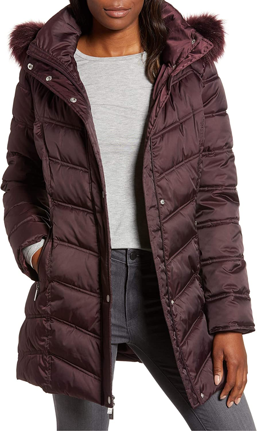 Kenneth Cole Women's Mid-Length Chevron Ho Ranking TOP9 Jacket Puffer Quilted San Diego Mall