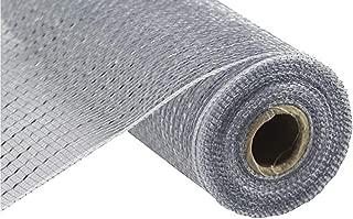 Wide Foil Deco Poly Mesh Ribbon, 10 Inches x 30 Feet (Silver, Silver Foil)