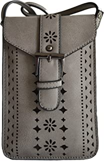 Mellow World Grey Gray Beige Perforated Laser Cut Out Phone Pouch Cross Body Shoulder Purse