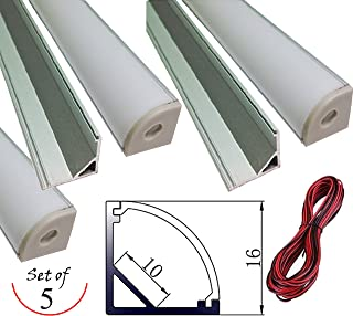 SleekLighting Extruded Aluminium V shape Channel (1m/3.3ft) - Pack of 5- Ultra Slim - Sturdy Profile - End Caps/Mounting Clips - Including A 10M Long Wire!