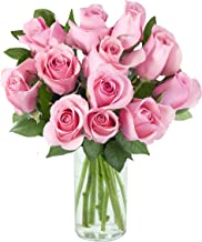 Purchase Now for Delivery by Thursday | Arabella Farm Direct Bouquet of 12 Fresh Cut Pink Roses with a Free Glass Vase
