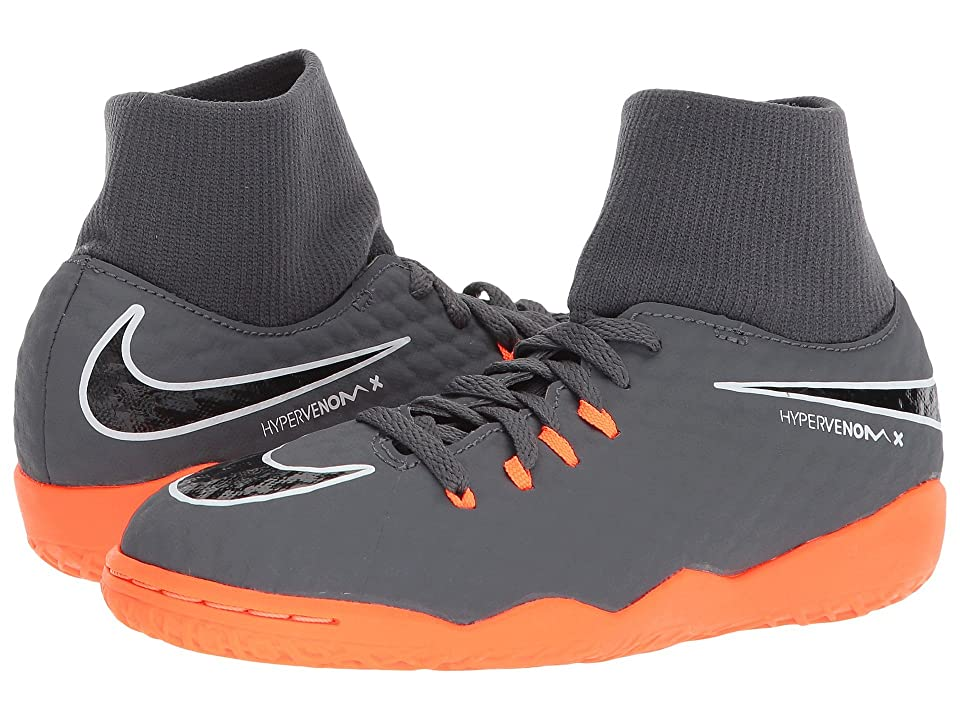 Nike Kids Jr. Hypervenom PhantomX 3 Academy Dynamic Fit IC Soccer (Little Kid/Big Kid) (Dark Grey/Total Orange/White) Kids Shoes