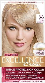 L'Oréal Paris Excellence Créme Permanent Hair Color, 9A Light Ash Blonde (1 Kit) 100% Gray Coverage Hair Dye