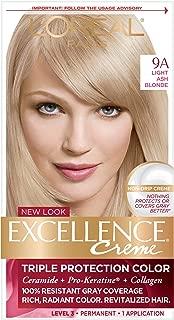 L'OrÃal Paris Excellence CrÃme Permanent Hair Color, 9A Light Ash Blonde, 1 Count 100% Gray Coverage Hair Dye