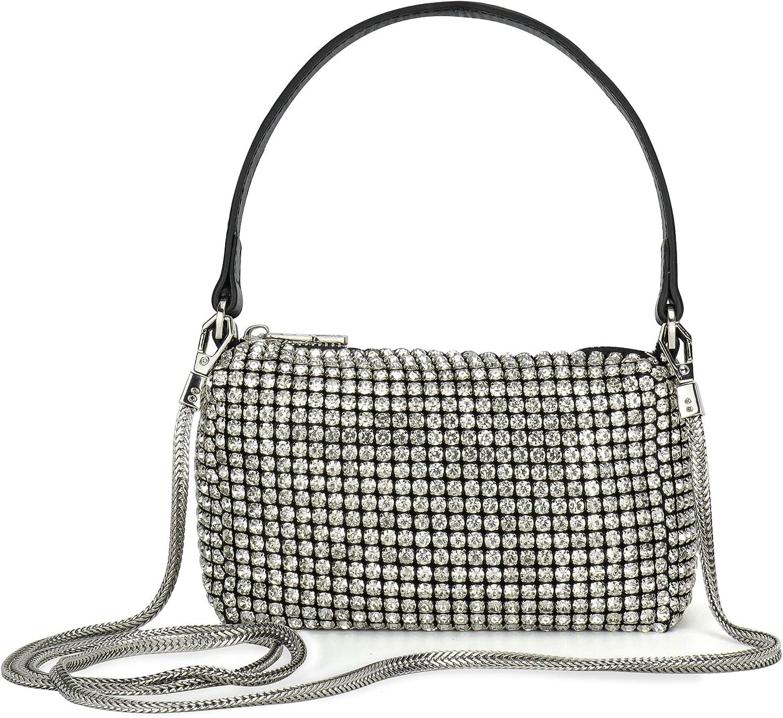 Montana West Crystal Rhinestone Crossbody Bags for Women Bling Purse Mini Top Handle Handbag Chain Mesh Clutch for Party
