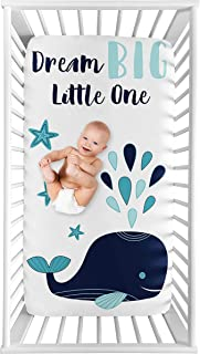 Sweet Jojo Designs Whale Boy or Girl Fitted Crib Sheet Baby or Toddler Bed Nursery Photo Op - Turquoise and Navy Blue Naut...