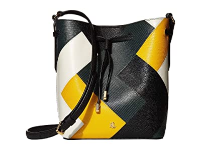 LAUREN Ralph Lauren Multi Patchwork Debby II Drawstring Mini (Black/Racing Green/Sundance/Vanilla) Handbags
